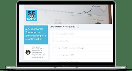 Mockup de la formation complète au SEO WordPress de Seoblaster